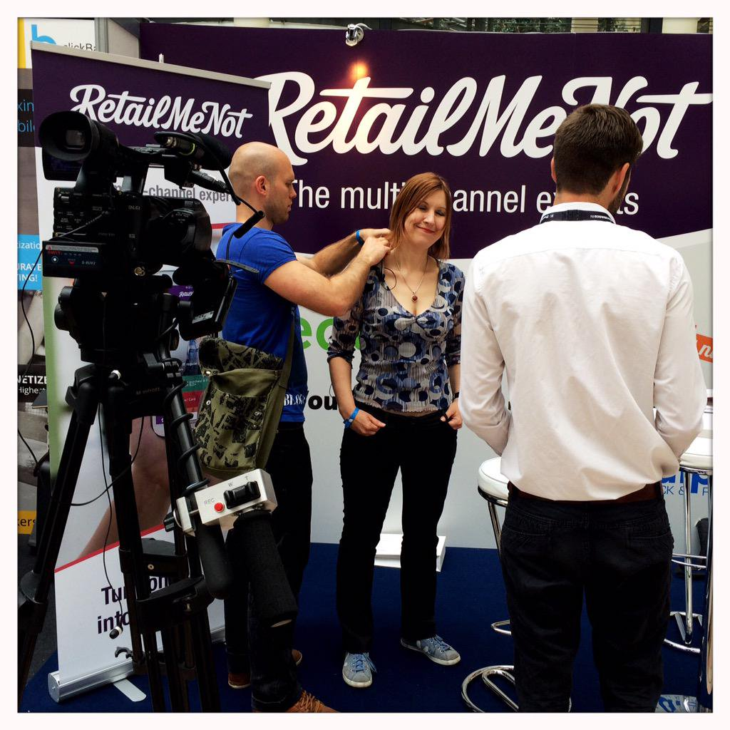 Preparing the video interview in the PreformanceIN commercial conference in Berlin.